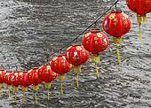 Chinese Lanterns Hanging over Water