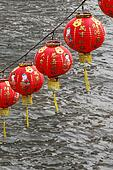 Chinese Lanterns Hanging over River for New Year Celebration