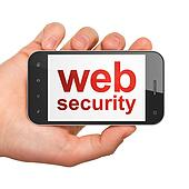 SEO web design concept: smartphone with Web Security
