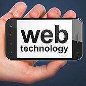 SEO web development concept: smartphone with Web Technology