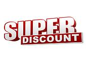 super discount red white banner - letters and block