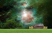 Another world outdoor park concept with the Orion Nebula in the background.Elements of this image furnished by NASA.
