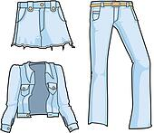 Denim fashion in bleached blue