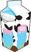 Cow illustration on milk carton