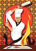 Hibachi chef cooking