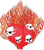 Flaming Heart with Skulls