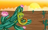 A cactus with lizard