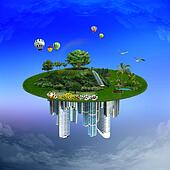 Nature versus urbanization, environment conservation concept