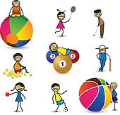 Kids(children) or people playing different sports & games. The g