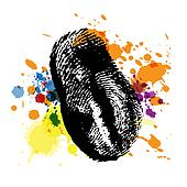 thumbprint on ink splatter