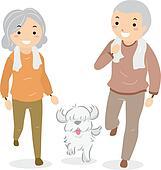 Senior Couple Walking their Dog Stickman