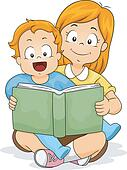 Baby Boy Reading a Book with Sister