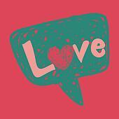 Love message in speech bubble