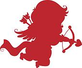 Silhouette Cupid with Bow and Arrow