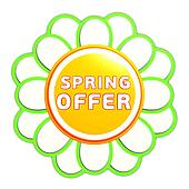 spring offer green orange flower label
