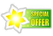 special offer green label with spring flowers