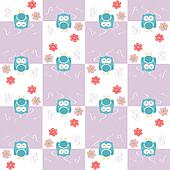 owls seamless pattern with flowers