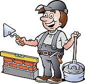 illustration of an Happy Bricklayer