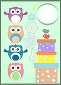 happy birthday card with cute owls and gift boxes