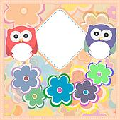 Background with owl, flowers and birds