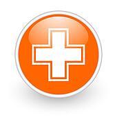 pharmacy orange circle glossy web icon on white background
