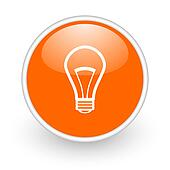 light bulb orange circle glossy web icon on white background