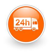 delivery 24h orange circle glossy web icon on white background