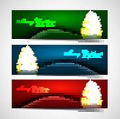 merry christmas tree celebration colorful header set vector