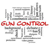 Gun Control Word Cloud Concept in Red Caps