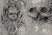 Tattoo art,2 biomechanical demons over grey background, Sketch
