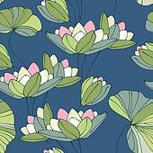 waterlily seamless flower tropical pattern