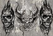 Tattoo art, 3 demons over grey background, Sketch
