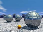Outdoor petanque game - 3D render