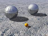 Petanque game - 3D render