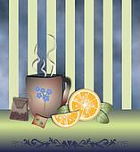 Tea time orange blue