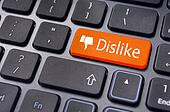 dislike message on keyboard button, antisocial media concepts