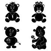 Set cartoon teddy bears, silhouette