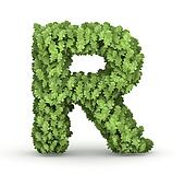 Letter R from green leaves