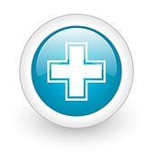 pharmacy blue circle glossy web icon on white background
