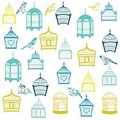 Birds and Birdcages Background - for design or scrapbook - in vector