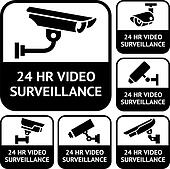 CCTV labels. Set symbols video surveillance, vector illustration