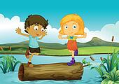 A girl and a boy above a trunk floating