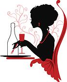 Silhouette of woman relaxing in restaurant