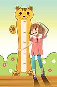 Girl measuring her height