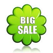 big spring sale green flower label