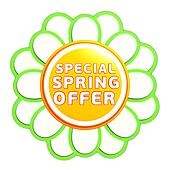 special spring offer green orange flower label