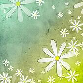white flowers in blue green old paper background