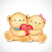 Teddy Bear Couple hugging heart