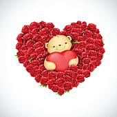 Teddy Bear Couple with Heart Balloon