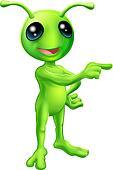Cute Cartoon Alien Pointing